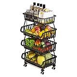 BRIAN & DANY Cestas de Frutas y Verduras Colgantes de 4 Niveles con Rueda-Organizador de La Cesta, 5 pcs S-Hooks, Pizarras Extraíbles, Cocina, Frutas, Verduras, Artículos de Tocador, Negro