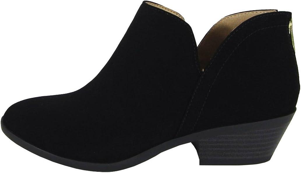 Soda Mafic Women's Almond Toe Faux Suede V Side Western Stacked Block Mid Heel Ankle Boot,Black