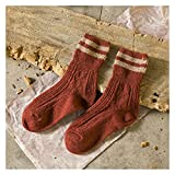 XINGTAO Socke 5 Farben Retro Wolle Frauen Socken Herbst Winter Wamer Baumwolle Mädchen Socken Weibliche japanische Röhre Socke Studenten Strumpfhosen (Color : A1078-Wine Red, Size : One Size)