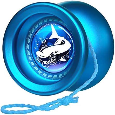 MAGICYOYO T9 Shark Responsive Yoyo for Kids, Alloy Yoyo Metal Yo Yo for Kids Beginners, with Yoyo Glove + Unresponsive Bearing + Bearing Removal Tool + 5 Replacement Yoyo Strings (Blue)