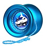 MAGICYOYO Responsive Yoyo T9 Shark-Blue, Professional Alloy Yo Yo for Kids Beginner + Replacement Unresponsive Yoyo Bearing + Removal Bearing Tool + Glove + 5 Yoyo Strings