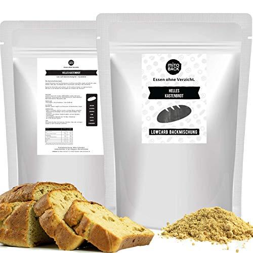 MITOBACK - Helles Kastenbrot Brotbackmischungen á 108 g - Low Carb Eiweiß Brotbackmischung - Lowcarb Brot Mischung für eine Fitness Ernährung - Eiweißbrot: Glutenfrei, Hefefrei, ohne Zucker und Mehl