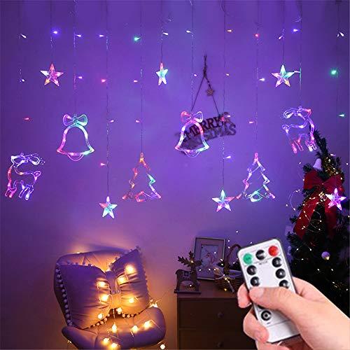 LED Lichtervorhang, 138 LED Lichterkette mit Sterne & Weihnachtsmuster, 8 Modi Weihnachtsbeleuchtung Innen/Außen, Wasserdicht Dekoration für Weihnachtsdeko Christmas, EU Stecker (Bunt)