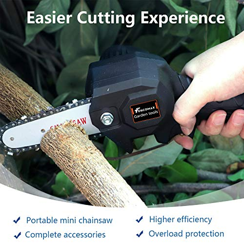 Foscomax Chainsaw, 4 Inch 24V Electric Chainsaw with Brushless Motor, Handheld Mini Chainsaw, Cordless Rechargeable Chain Saw, Pruning Shears for Tree Branch Wood Cutting