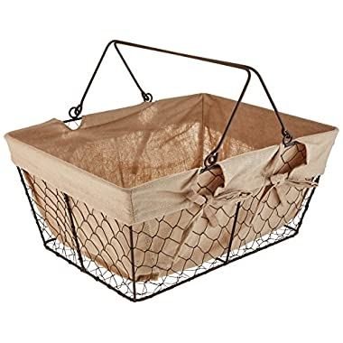 Home Traditions Farmhouse Vintage Metal Chicken Wire Storage with Handles and Removable Fabric Liner for Home Décor Or Kitchen Use, Egg Basket, Natural