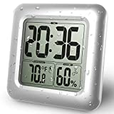 BALDR Digital Shower Clock | Waterproof - Perfect for The Bathroom, Large LCD Display - Monitor Temperature and Humidity - Thermometer & Hygrometer - Made from Shatterproof Fiberglass