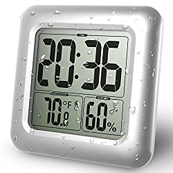 BALDR Digital Shower Clock   Waterproof - Perfect for The Bathroom, Large LCD Display - Monitor Temperature and Humidity - Thermometer & Hygrometer - Made from Shatterproof Fiberglass