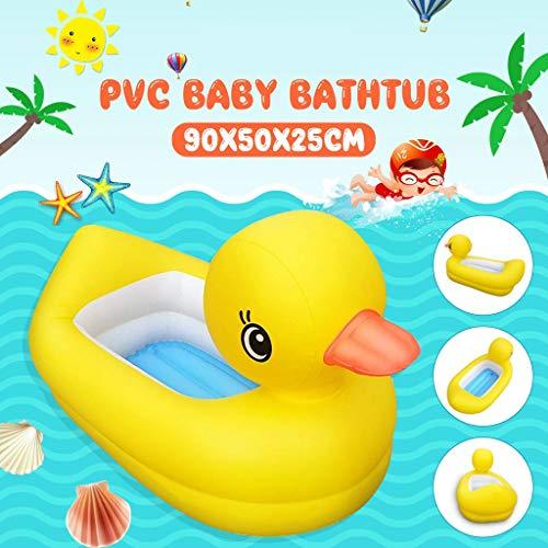 Ashui Aufblasbare kleine gelbe Enten Pool, Babypool,Pool Planschbecken, Kinderpool Kinderplanschbecken,Schwimmbecken, für Baby-s Kind-er Terrasse Garten Größe ca. 90x50x25cm