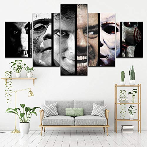 IGZAKER Canvas Schilderij Enge Film horror film 5 Stuks Muur Schilderkunst Wallpapers Poster Print voor woonkamer Home Decor-30x40 30x60 30x80cm geen frame