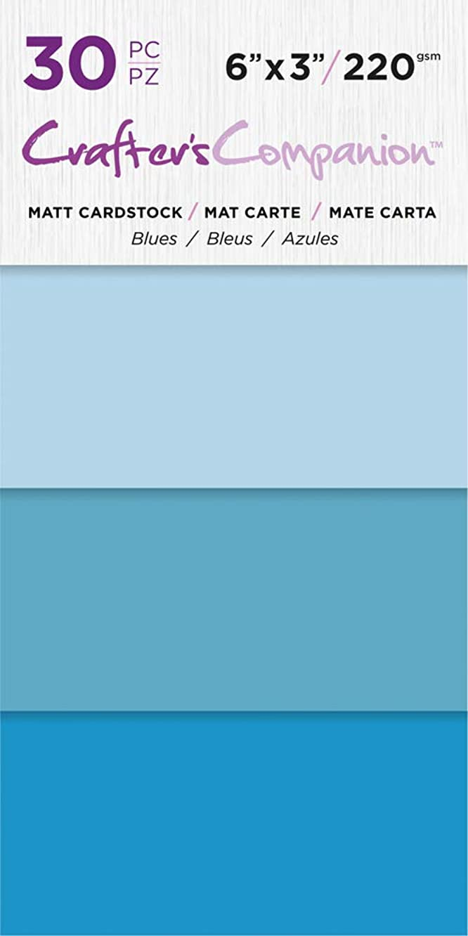 Crafter's Companion CC-PAD-MC-Blue 6x3 Luxury Pack (30 Sheets) Cardstock,