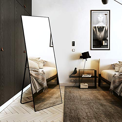 TinyTimes 65'×22' Full Length Mirror, Floor Mirror with Stand, Full Body Tall Mirror, Leaning, Free Standing or Wall-Mounted, Brushed Thin Frame, for Bedroom, Living Room, Dressing Room Decor - Black