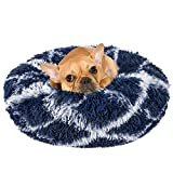 INVENHO Dog Bed Cat Bed Donut,Pet Bed Faux Fur Cuddler Round Comfortable for Small Medium Dogs Ultra Soft Calming Bed,Self Warming and Washable Indoor Sleeping Bed (20-Inch, Blue White)