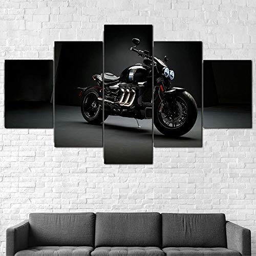 ZHRMGHG Decoración Pared Póster Bicicleta Triumph Rocket III TFC Grandes Lienzo XXL Modernos Cuadros Decoración Hogar 5 Piezas Cuadro sobre Lienzo Mural HD Impresión Regalo