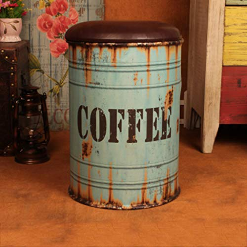 PLL Blue Retro do oude Barrel Barkruk Creative Storage Barkruk Change Shoes Barkruk Bar Decoraties