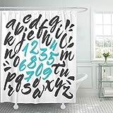 N\A Duschvorhang Handbürste Alphabet Ausdrucksstarke kalligraphische Schrift Buchstaben & Zahlen Duschvorhänge Sets mit 12 Haken Wasserdichtes Polyestergewebe