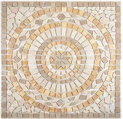 Naturstein Mosaik Einleger Fliese Groß Travertin beige gelb walnuss für WANDDEKO BAD WC KÜCHENDEKO