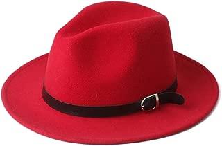 Fedora Cap Winter Men Women Fedora Hat with Black Leather Belt Wide Brim Jazz Hat Panama Fascinator Hat Size 56-58CM Felt hat (Color : Red, Size : 56-58)