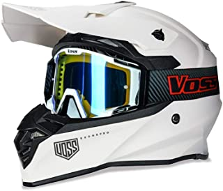 801 X1 Pro Dirt Bike Helmet Matte Whiteout with Red Blaze Voss ONE Goggles - DOT - S