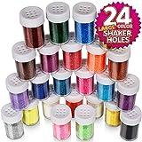 Fine Glitter Set 20g, Teenitor 24pcs Glitter Shake Jars for Art Crafts Painting Scrapbooking Body Slime...