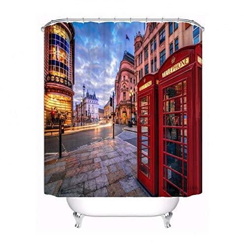 AYogg Duschvorhang Benutzerdefinierte London Telefonzelle Dusche Bad Badezimmer Vorhang Schimmelschutz Wasserdichtes Polyester Verschiedene