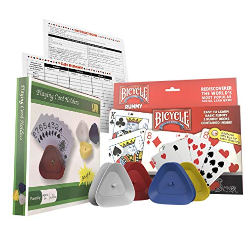 Gin Rummy Card Game Set with Playing Cards, Four Card Holders and Score Pad with Game Instructions by All7s