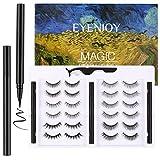 Eyenjoy Magic False Eyelashes and Eyeliner Kit,Upgraded 3D No Glue Fake Eyelashes Set With Reusable Lashes 12 Pairs 6 Styles with 3 Self Adhesive Eyeliners and Tweezer