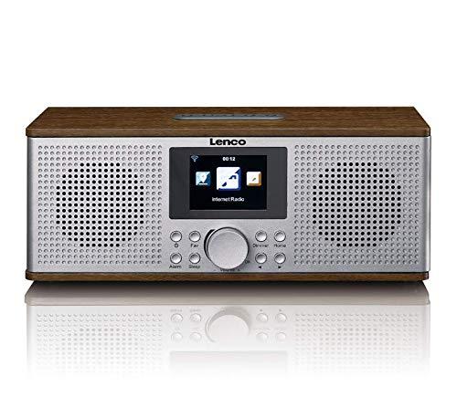 Lenco DIR-170 Digitalradio - Internetradio - WLAN Radio - UKW Radio - Bluetooth - TFT Display - Radiowecker (2 Weckzeiten) - AUX-Eingang - Line-Out und USB - 2x10 Watt (RMS) - Braun