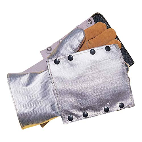 John Tillman Silver and Brown Leather and Aluminized Rayon Wool Lined Aluminized Welding Glove with Gauntlet Cuff, Large (TIL820BHP)