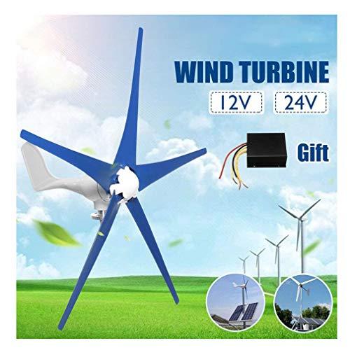 Generatore eolico orizzontale 12V / 24V generatore eolico, generatore eolico DC generatore eolico a 5 pale del rotore con pannello di controllo sistemi energetici ricarica generatori eolici permanen