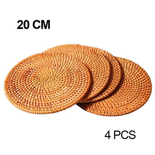 Handgefertigte Rattan Topfhalter, Anti-Rutsch, langlebig, Hitzebeständige Hot Pads Perfekte moderne Home Decor Hitzebeständige Untersetzer Cup Isolationsmatte (Φ20CM, 4PCS)
