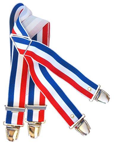 Marc Vêtements Bretelle élastiquée tricolore bleu blanc rouge 4 pinces