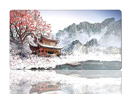 Large Cherry Blossom Mouse Pad Art Snow Mountain Mouse Mat Gaming XL Long Mousepad Computer Non-Slip for Full Desk 15.8x29.5 in