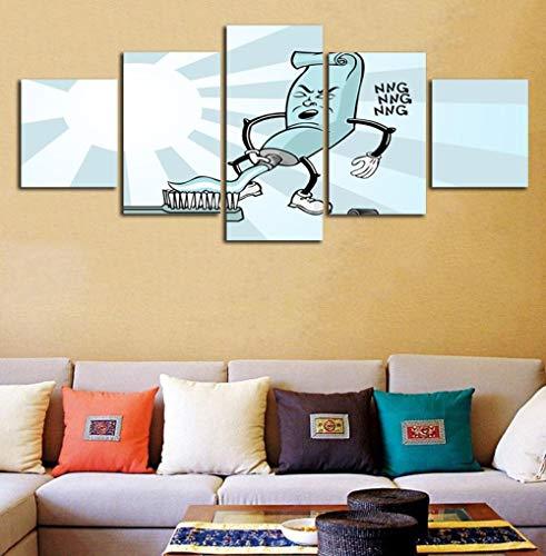 YOPLLL 5 Teilig Leinwand Wanddeko Gerahmtes Malerei Leinwanddrucke Geschenk 5 Stück Leinwand Bilder Moderne Wandbilder XXL Wohnzimmer Wohnkultur Zahnpasta Im Nordischen Stil