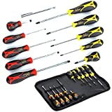 Kutir Screwdriver Set 11 Pieces Phillips and Slotted NON-SLIP WIDE COMFORTABLE HANDLE, Micro-Fine Grip, Heavy Duty, Rust Resistant, Fluted, MAGNETIC TIPS - Craftsman Toolkit For Wet, Oily Hand Work