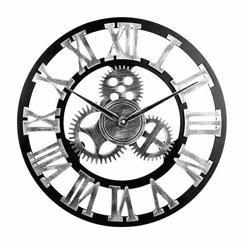 Reloj de Pared Vintage Silencioso, Reloj de Pared Circular con Números Romanos de Metal Estilo 45 cm, Reloj de Pared Moderno Decorativo para Salón, Cocina, Oficina