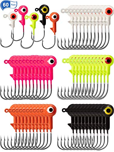 Gejoy 60 Pieces Fishing Lures Jig Heads Ball Head Fishing Hooks Round Lead Ball Head Jigs with Double Eyes for Freshwater or Saltwater (1/16 oz)