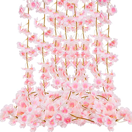 KONUNUS 4 Pack Artificial Cherry Blossom, 5.9ft Artificial Silk Cherry Blossom Hanging Vine Garland for Home Wedding Indoor Outdoor Garden Wall Decor Party Decoration