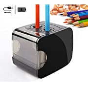 Electric Pencil Sharpeners, Battery & USB Powered, QHUI Heavy Duty 2 Holes Automatic Pencil Sharpeners for Kids, Perfect for No. 2 Pencils and Colored Pencils Use at Home, Classroom and Office