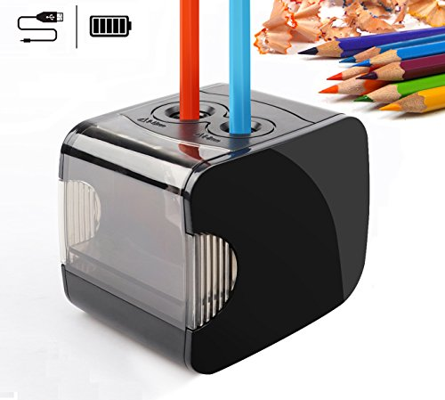 Electric Pencil Sharpeners, Battery & USB Powered, QHUI Heavy Duty 2 Holes...