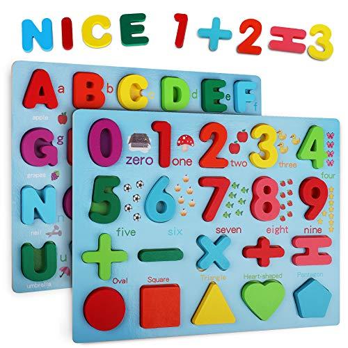 Coolzon Puzzles de Madera 2 Piezas Colorido Alfabeto y Números Rompecabezas Regalo Juguete Educativo para Niños