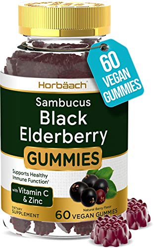 Sambucus Black Elderberry Gummies | 60 Count | with Zinc and Vitamin C | Vegan, Non-GMO, Gluten Free Extract for Adults | Natural Berry Flavor | by Horbaach