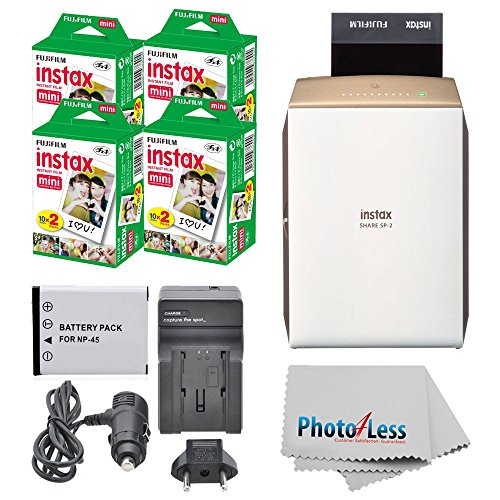 Discover Bargain Fujifilm instax SHARE Smartphone Printer SP-2 (Gold) + Fujifilm Mini Twin Pack (80 ...