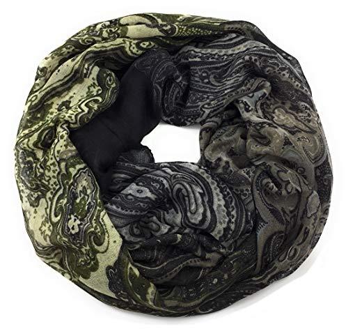 Feelinko Loop mit Paisley-Muster Schal Loop Halstuch Schlauchschal Rundschal Tuch Damen Women, Braun, Einheitsgröße