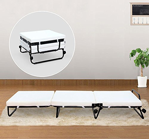 HOMCOM Twin Size Folding Convertible Sleeper Bed Ottoman with Beige Slipcover