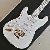 YYYSHOPP Guitarras y Engranajes Guitarra Eléctrica Guitarra De Oro con Cuello Festoneado Profundo Guitarra Blanca Guitarra De Guitarra Cadena Acero Acústico Guitarras clásicas