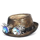 Nstqlzh 2 Größe Leder Steampunk Hut for Männer Fedora-Hut Porkpie Gang Brille Flat Top-Hut for Gentleman Bowler Gambler Cosplay Hat` (Color : Gold, Size : 59-60 cm)