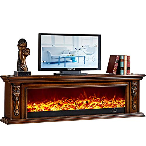 HWLG Wooden Modern 3D Electric Fire Realistic LED Flame Effect Fireplace 750/1500W 7 Day 24Hr Timer and Remote Control Wooden TV Stands with Fireplace Core