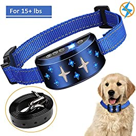 Dog Training Collar, SUPERNIGHT Dog Bark Collar 2in1 Anti Barking Device with 7 Sensitivity Levels of Sound or Vibration and Free Adjustable Belt for 15lbs~120lbs dogs, No Shock SAFE HARMLESS & HUMANE