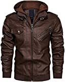 T&I TEXAS New Removable Hooded Biker Leather Jacket For Men's | Novelty Dark Brown Leather Jacket For Ladies | Best Style Jacket For Women's (Brown, S)
