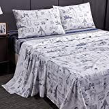 Brandream Queen Size Bedding Sets Kids Boys Sheets Set Cotton Cars Tank Helicopter Aircraft Military Transport Vehicles Bedding Sets for Kids Teen Boy Children 4-Piece